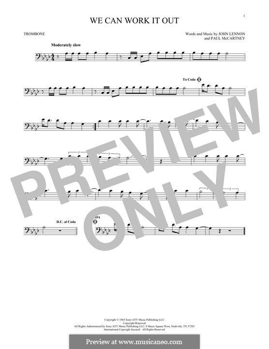 We Can Work it Out (The Beatles): For trombone by John Lennon, Paul McCartney