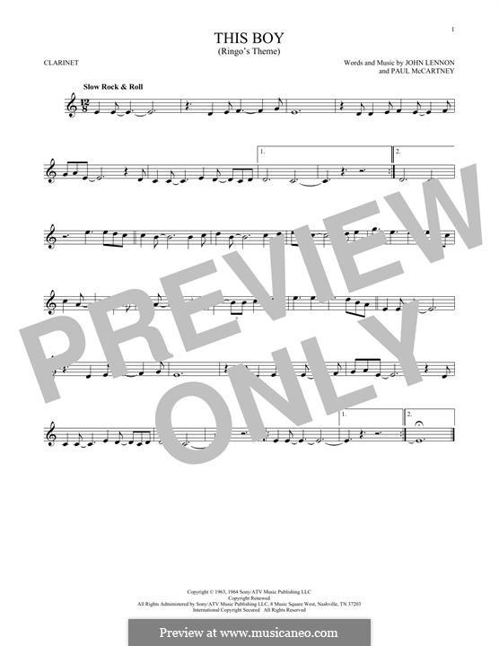 This Boy (Ringo's Theme): For clarinet by John Lennon, Paul McCartney