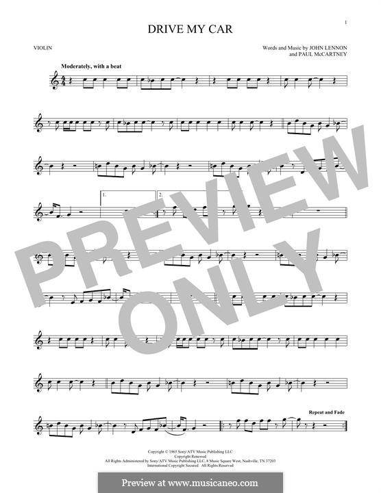 Drive My Car (The Beatles): For violin by John Lennon, Paul McCartney