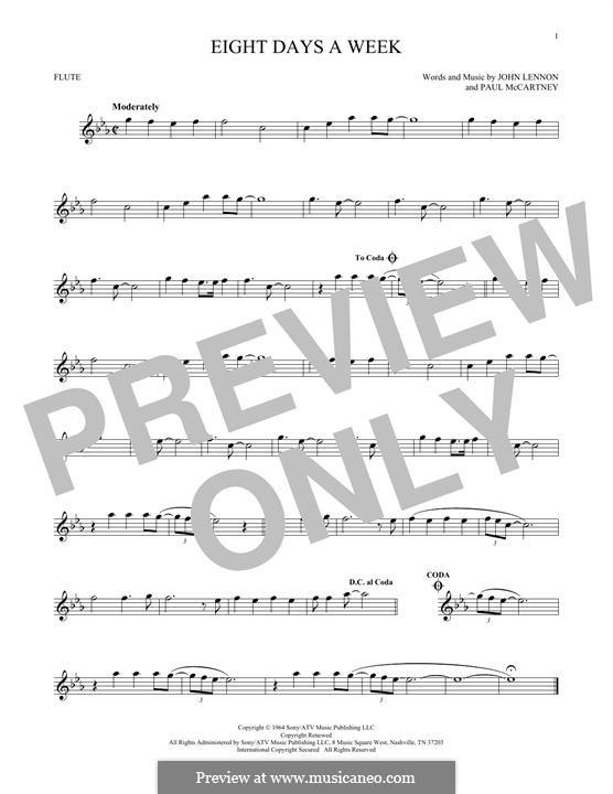 Eight Days a Week (The Beatles): For flute by John Lennon, Paul McCartney