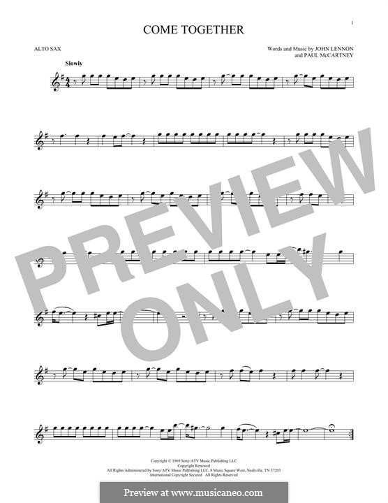 Come Together (The Beatles): For alto saxophone by John Lennon, Paul McCartney