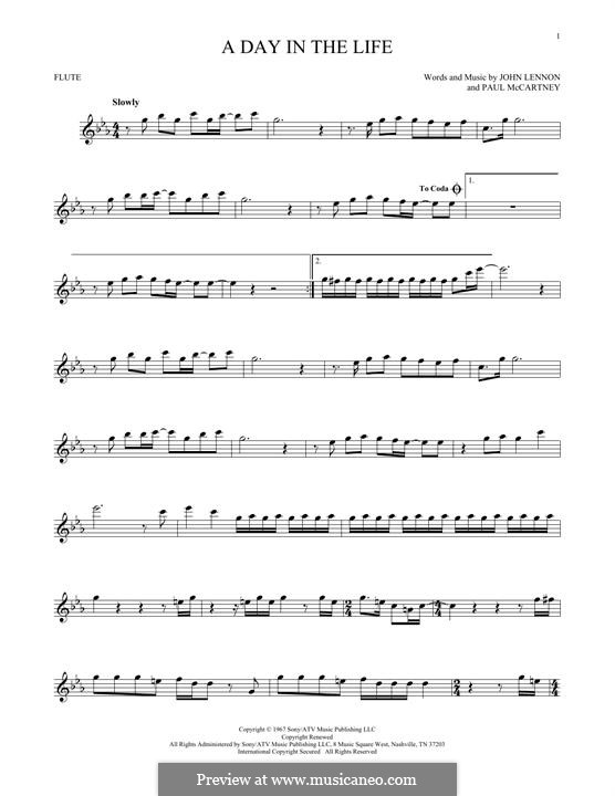 A Day in the Life (The Beatles): For flute by John Lennon, Paul McCartney