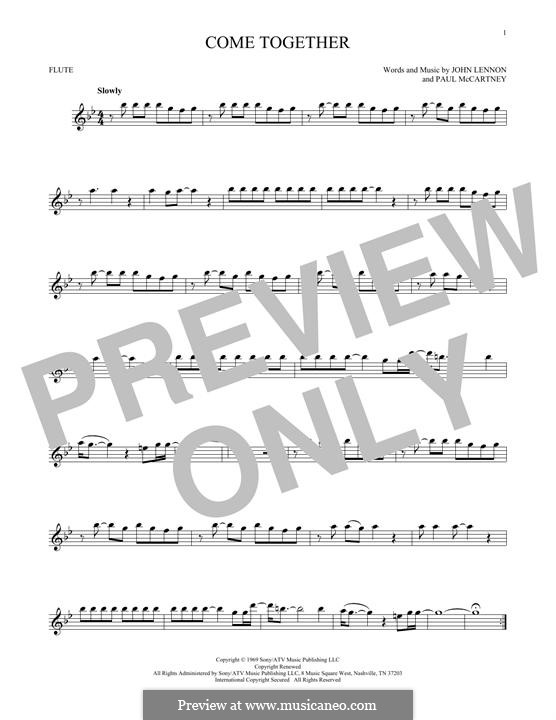 Come Together (The Beatles): For flute by John Lennon, Paul McCartney
