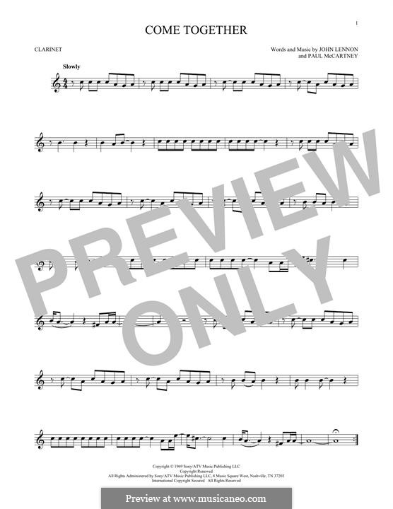 Come Together (The Beatles): For clarinet by John Lennon, Paul McCartney