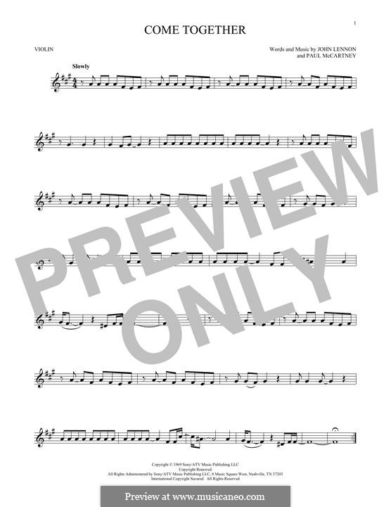 Come Together (The Beatles): For violin by John Lennon, Paul McCartney