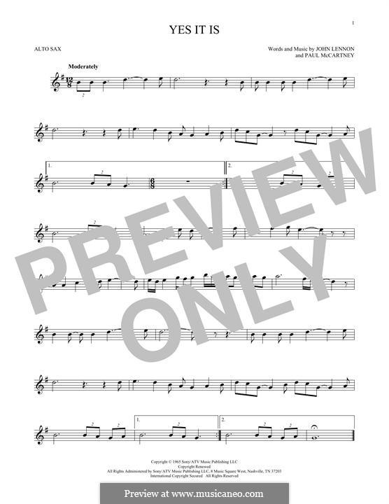 Yes It Is (The Beatles): For alto saxophone by John Lennon, Paul McCartney