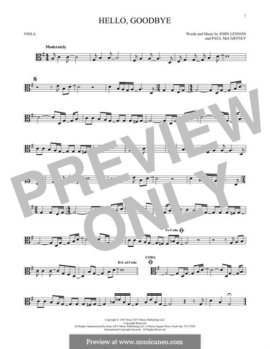 Hello, Goodbye (The Beatles): For viola by John Lennon, Paul McCartney