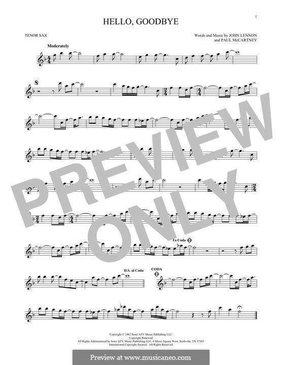 Hello, Goodbye (The Beatles): For tenor saxophone by John Lennon, Paul McCartney