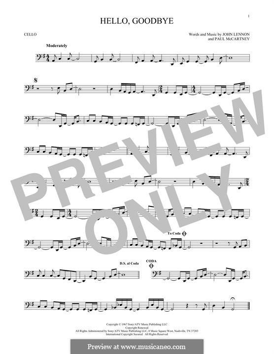 Hello, Goodbye (The Beatles): For cello by John Lennon, Paul McCartney