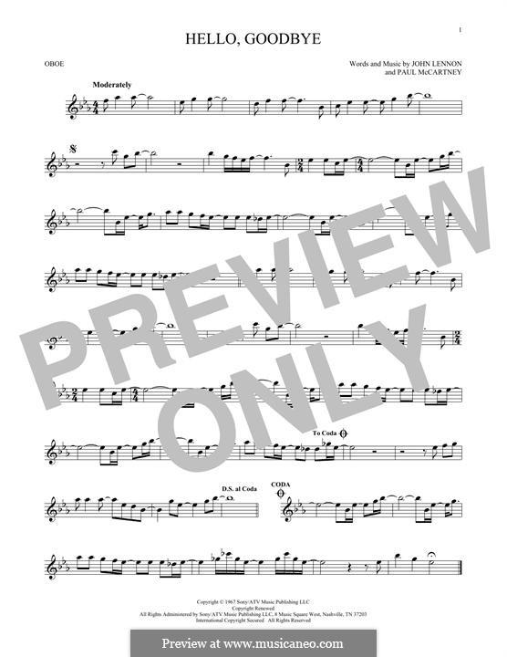 Hello, Goodbye (The Beatles): For oboe by John Lennon, Paul McCartney