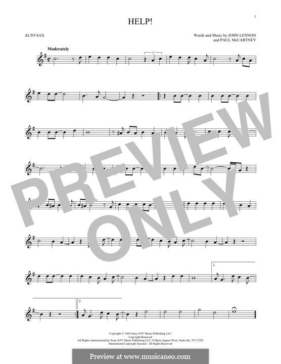 Help! (The Beatles): For alto saxophone by John Lennon, Paul McCartney