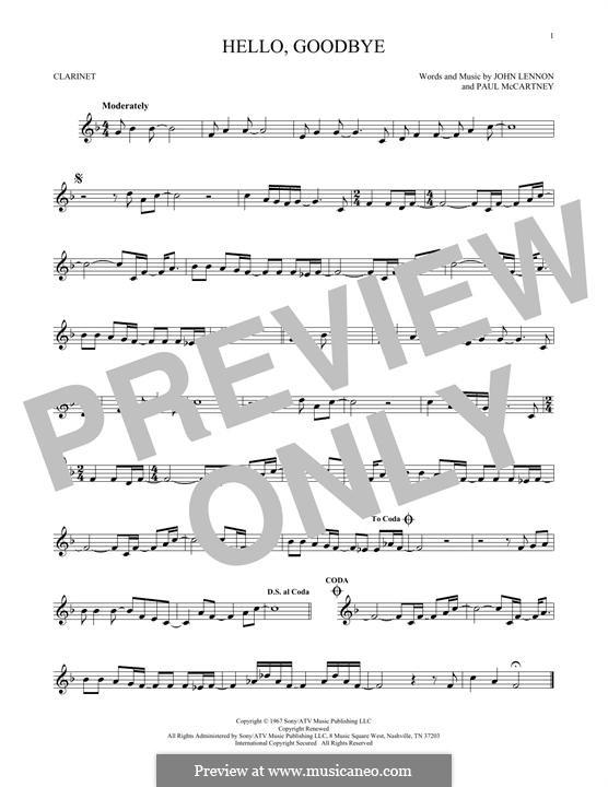 Hello, Goodbye (The Beatles): For clarinet by John Lennon, Paul McCartney