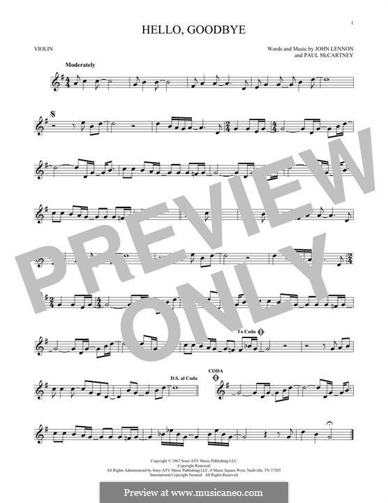 Hello, Goodbye (The Beatles): For violin by John Lennon, Paul McCartney
