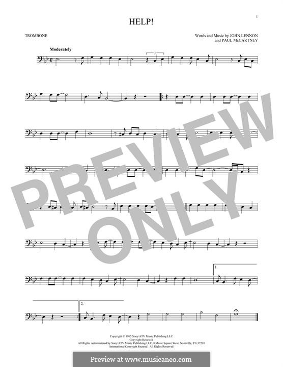 Help! (The Beatles): For trombone by John Lennon, Paul McCartney