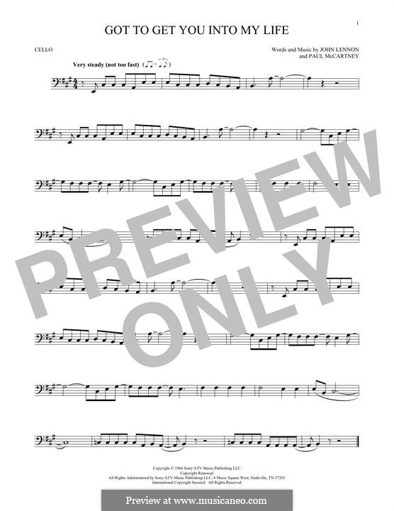 Got To Get You Into My Life (The Beatles): For cello by John Lennon, Paul McCartney