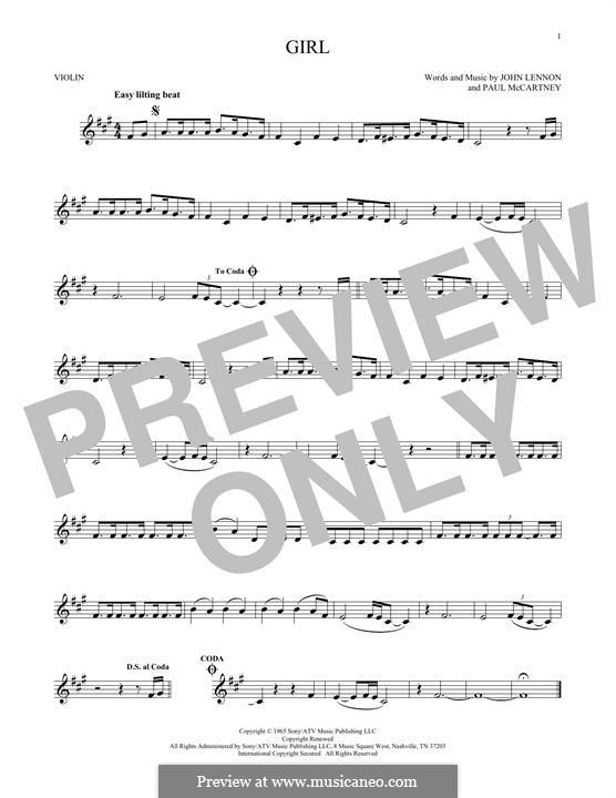 Girl (The Beatles): For violin by John Lennon, Paul McCartney