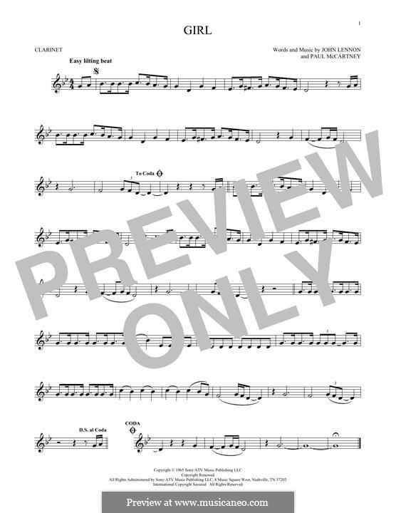 Girl (The Beatles): For clarinet by John Lennon, Paul McCartney