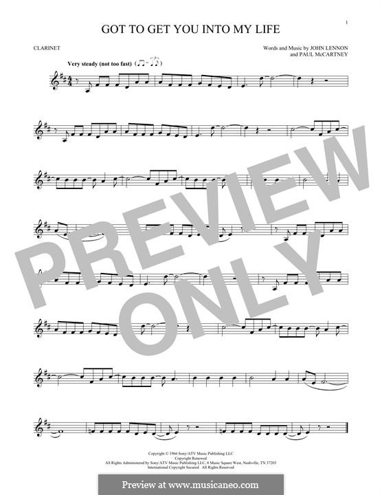 Got To Get You Into My Life (The Beatles): For clarinet by John Lennon, Paul McCartney