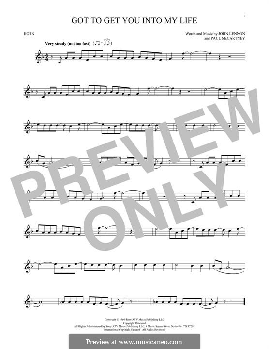 Got To Get You Into My Life (The Beatles): For horn by John Lennon, Paul McCartney