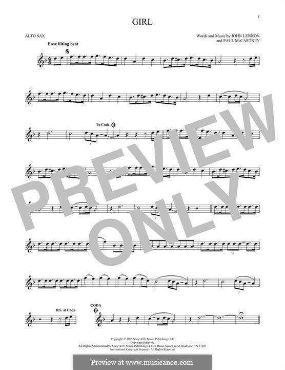 Girl (The Beatles): For alto saxophone by John Lennon, Paul McCartney