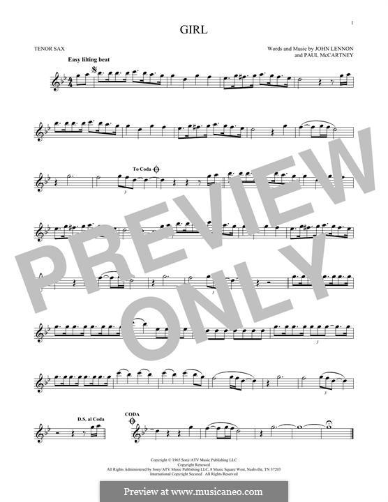 Girl (The Beatles): For tenor saxophone by John Lennon, Paul McCartney