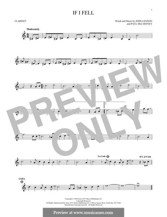 If I Fell (The Beatles): For clarinet by John Lennon, Paul McCartney
