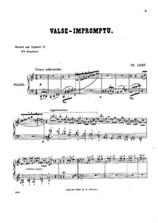 Waltz-Impromptu in A Flat Major, S.213: For piano (with fingering) by Franz Liszt
