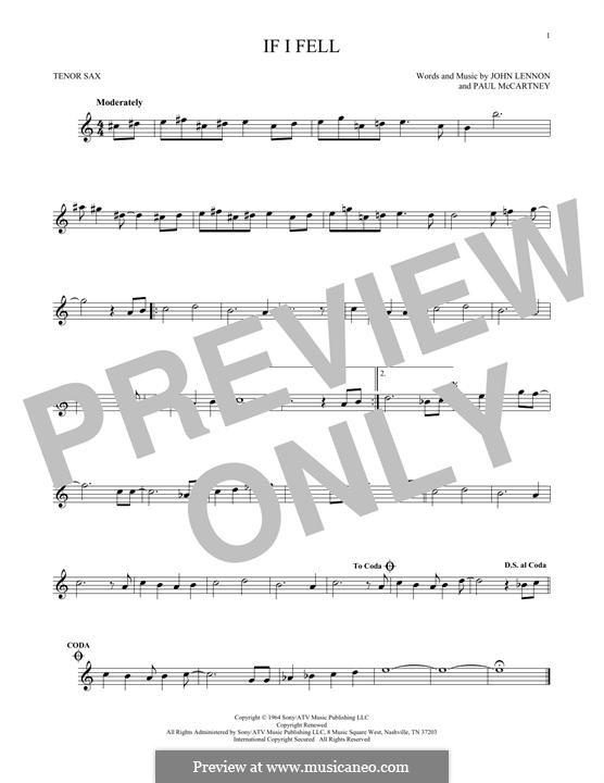 If I Fell (The Beatles): For tenor saxophone by John Lennon, Paul McCartney