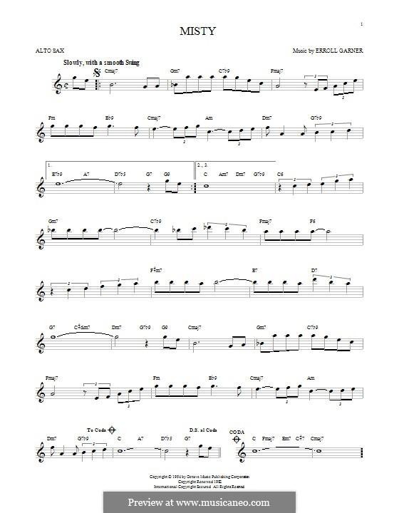 Misty (Johnny Mathis): For alto saxophone by Erroll Garner
