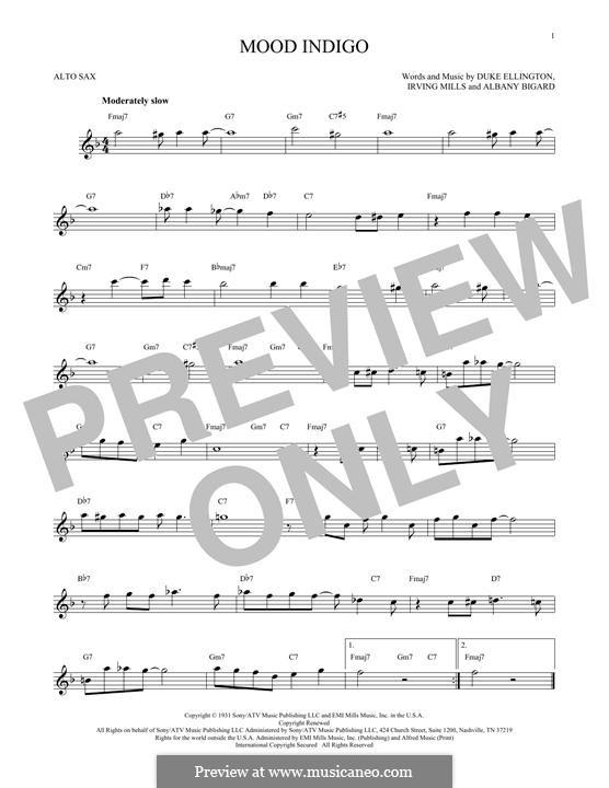 Mood Indigo: For alto saxophone by Irving Mills, Albany Bigard, Duke Ellington