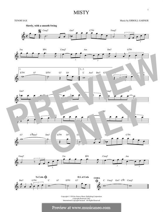 Misty (Johnny Mathis): For tenor saxophone by Erroll Garner