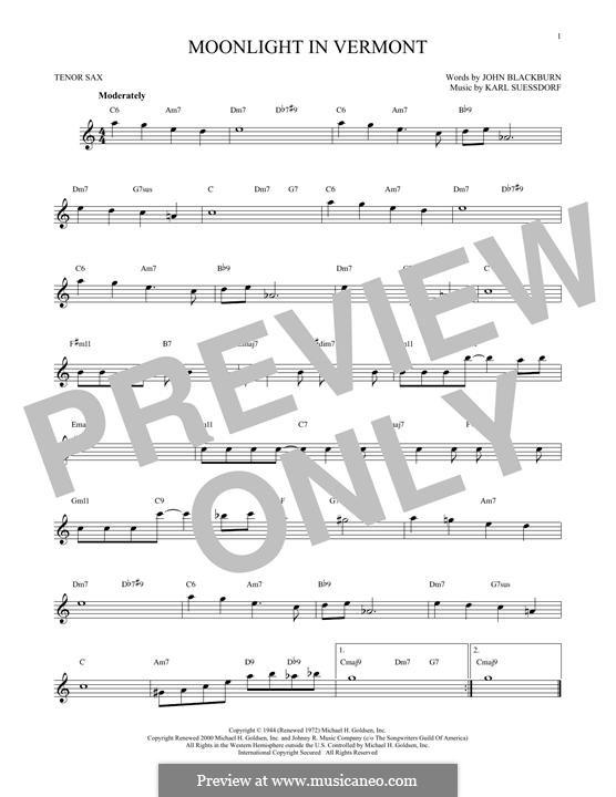 Moonlight in Vermont (Frank Sinatra): For tenor saxophone by Karl Suessdorf