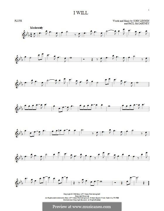 I Will (The Beatles): For flute by John Lennon, Paul McCartney