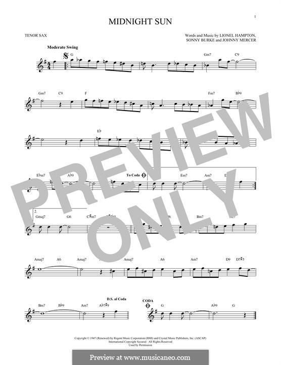 Midnight Sun: For tenor saxophone by Johnny Mercer, Lionel Hampton, Sonny Burke