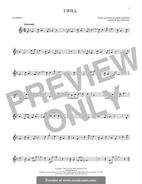 I Will (The Beatles): For clarinet by John Lennon, Paul McCartney