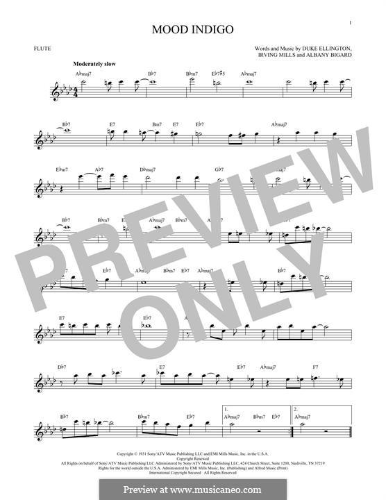 Mood Indigo: For flute by Irving Mills, Albany Bigard, Duke Ellington