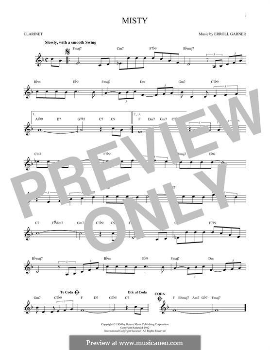 Misty (Johnny Mathis): For clarinet by Erroll Garner