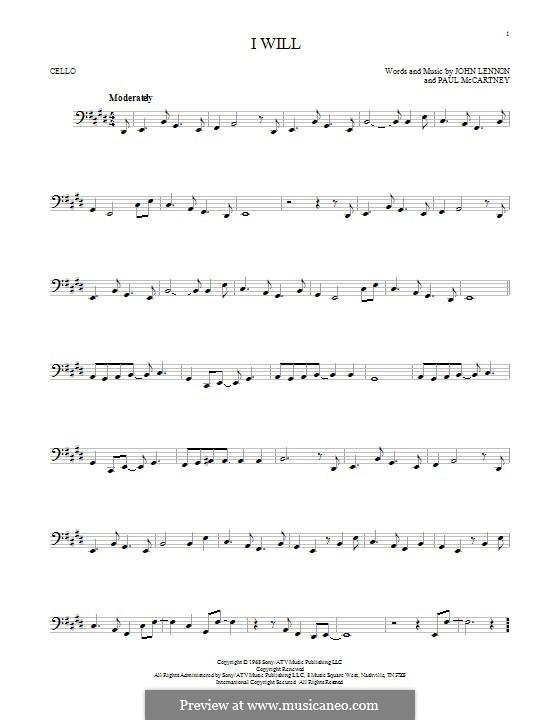 I Will (The Beatles): For cello by John Lennon, Paul McCartney