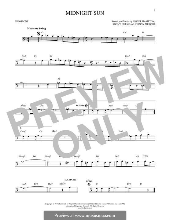 Midnight Sun: For trombone by Johnny Mercer, Lionel Hampton, Sonny Burke