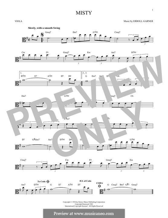 Misty (Johnny Mathis): For viola by Erroll Garner