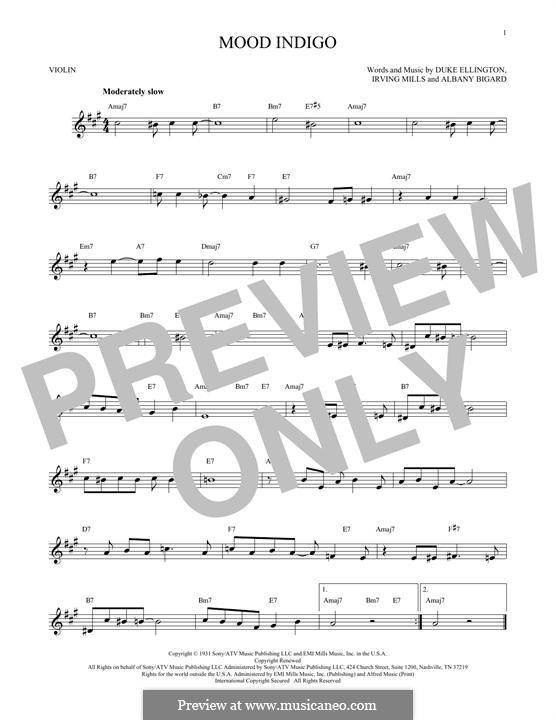 Mood Indigo: For violin by Irving Mills, Albany Bigard, Duke Ellington