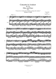 Concerto for Two Oboes and String Orchestra in A Minor, RV 536: Arrangement for oboe and piano by Antonio Vivaldi