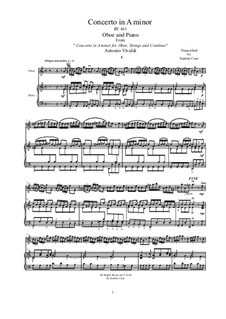 Concerto for Oboe and Strings in A Minor, RV 461: Arrangement for oboe and piano by Antonio Vivaldi