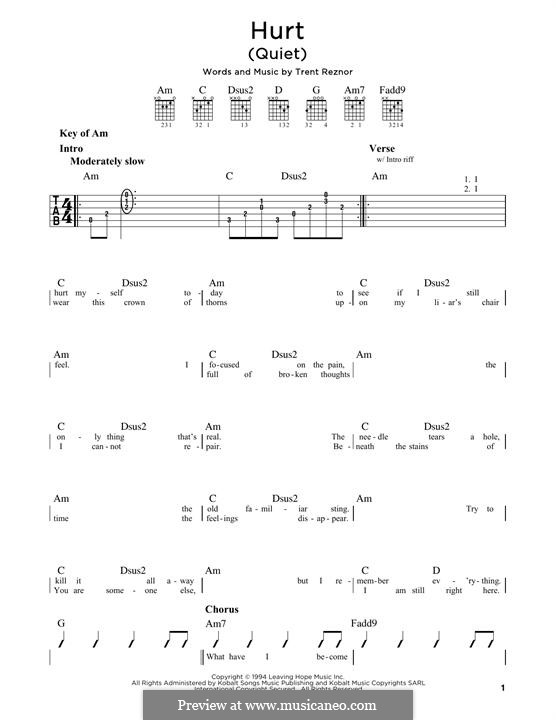 Hurt (Nine Inch Nails): For guitar with tab by Trent Reznor