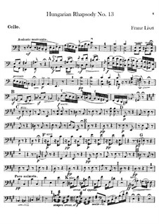 No.13 in A Minor, S.244: For orchestra – cello part by Franz Liszt