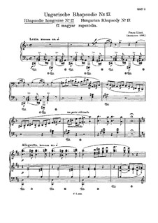 No.17 in D Minor, S.244: For piano by Franz Liszt