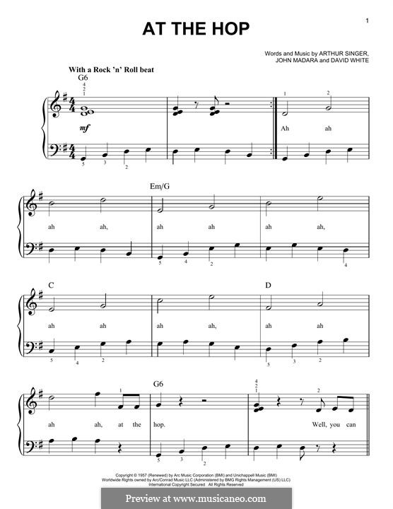 At the Hop (Danny & The Juniors): For piano by Arthur Singer, David White, John Medora
