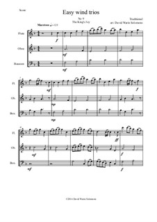 15 easy pieces for wind trio (flute, oboe, bassoon): No.9 The King's Joy by folklore