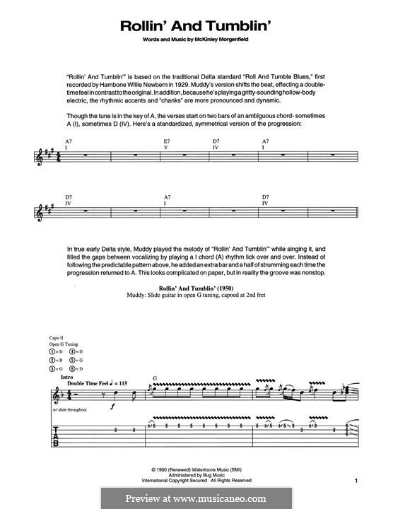 Rollin' and Tumblin' (Cream): For guitar with tab by Muddy Waters