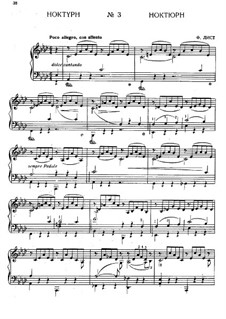 Nocturne No.3: For piano (with fingering) by Franz Liszt